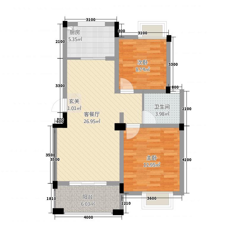 紫悦城1113186.50㎡11#、13#B-1户型2室2厅1卫1厨
