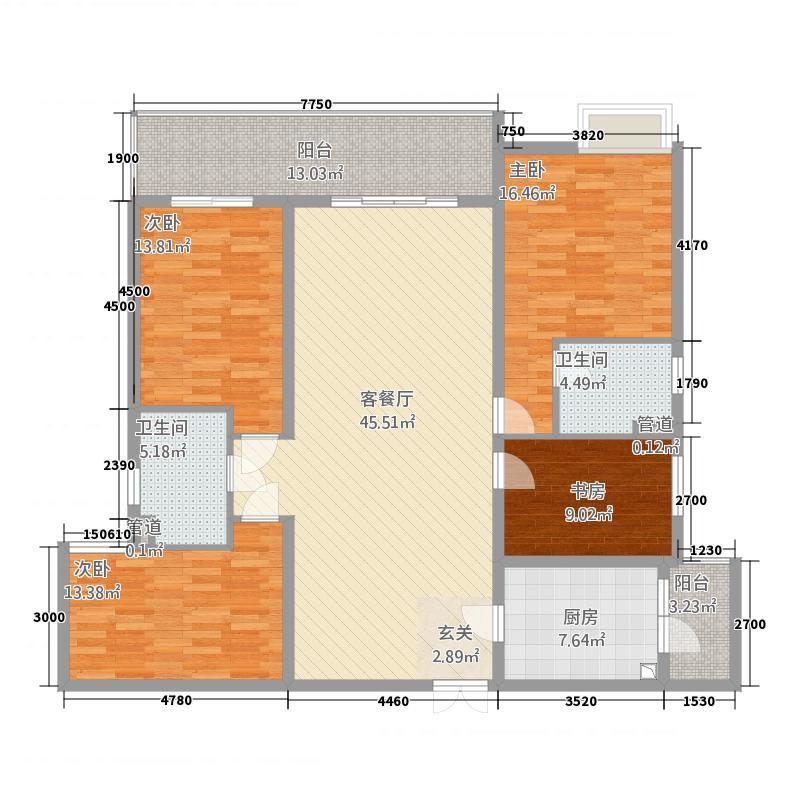 名门世家2164.52㎡一期D2户型4室2厅2卫1厨