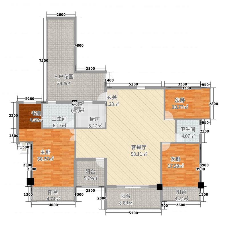 东盟国际城1316.63㎡A1户型3室2厅2卫1厨