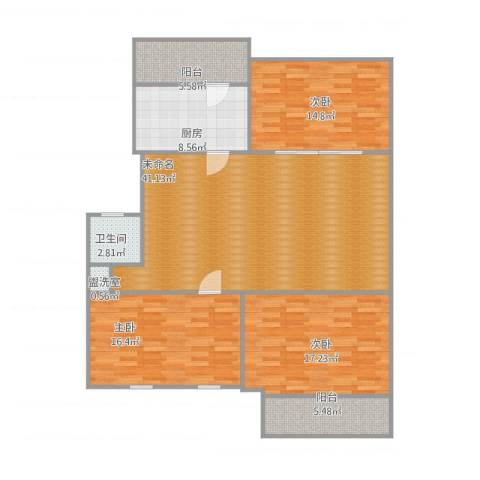 六里山南路宿舍3室1厅1卫1厨150.00㎡户型图
