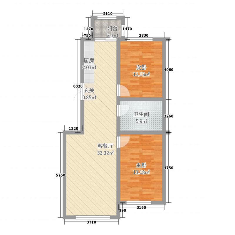 鑫鹏广场12113.81㎡D户型2室1厅1卫1厨