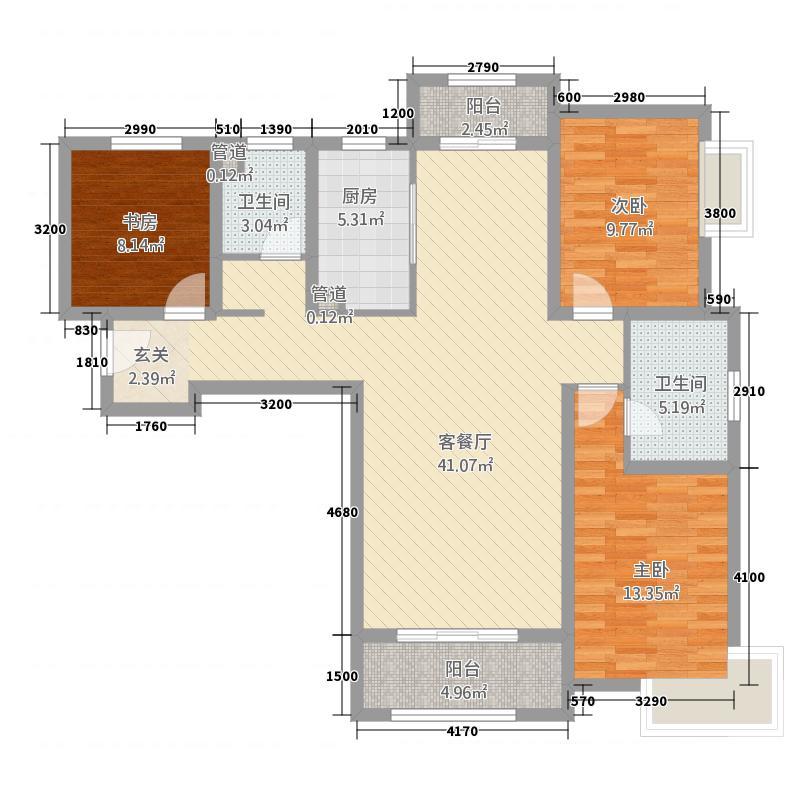 自然界6312.20㎡6号楼C3户型3室2厅2卫1厨