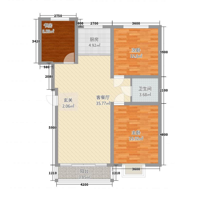 金岸美地3.20㎡户型3室2厅1卫1厨