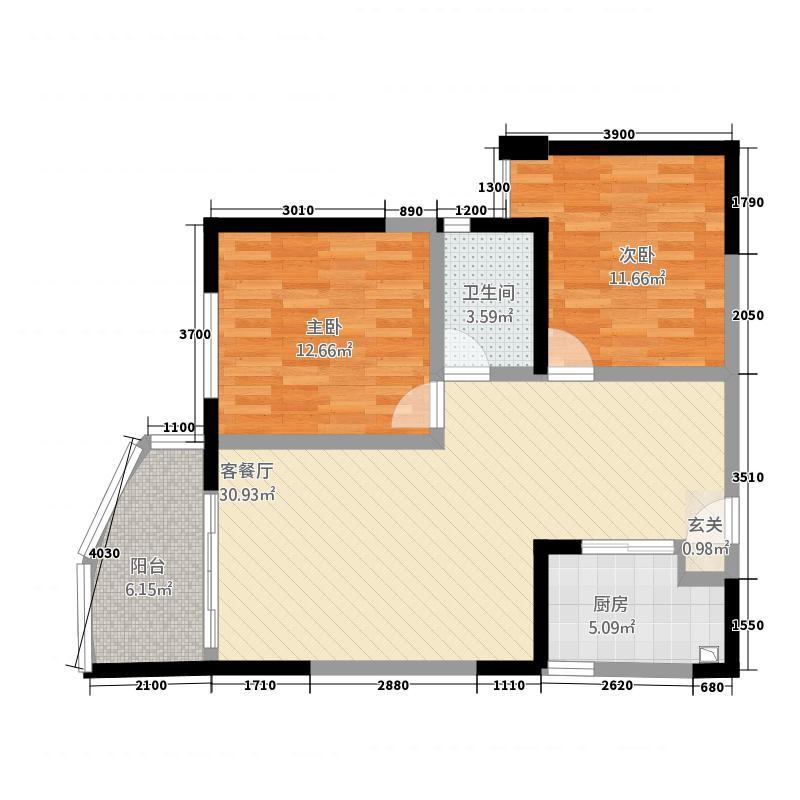 碧桂园十里银滩7.20㎡爱琴海B-1户型2室2厅1卫1厨