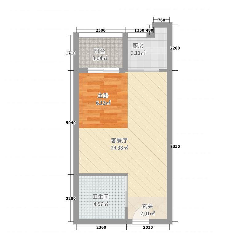 新天地国际广场5.20㎡C户型1室1厅1卫1厨