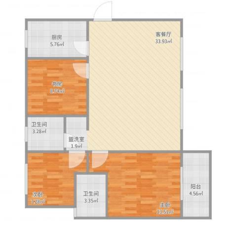 嘉园蓝湖九郡3室1厅2卫1厨108.00㎡户型图