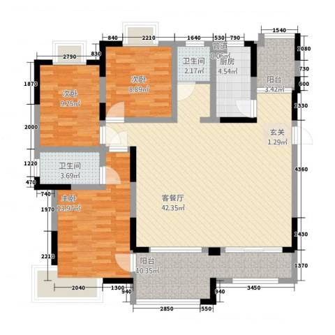 众发世纪城3室1厅2卫1厨281138.00㎡户型图