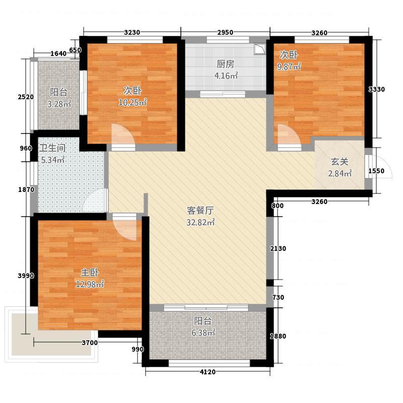 富田兴和湾122.72㎡一期F'户型3室2厅1卫1厨