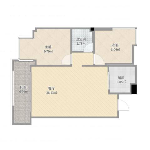 时尚国际2室1厅1卫1厨78.00㎡户型图