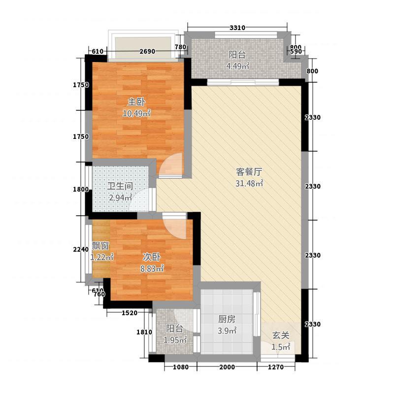 恒春凤凰城81.74㎡6楼2号房户型2室2厅1卫1厨