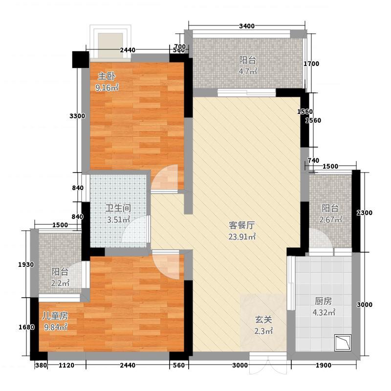 北新・御龙湾78.87㎡高层-05户型2室2厅1卫1厨