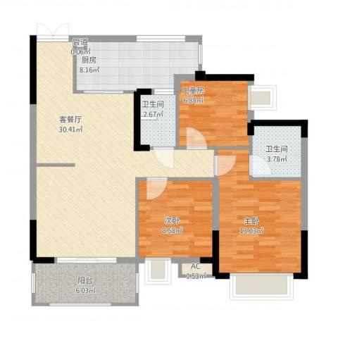 奥体中央公园3室1厅4卫1厨114.00㎡户型图