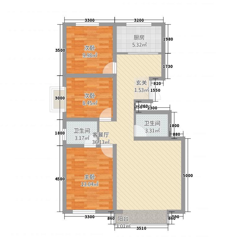 西岸国际18.30㎡P户型3室2厅2卫1厨