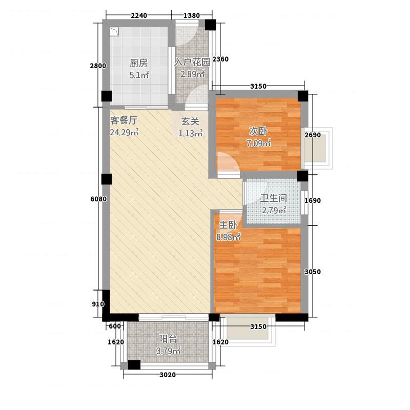 永鸿御景湾55567.45㎡55、56#02户型2室2厅1卫1厨