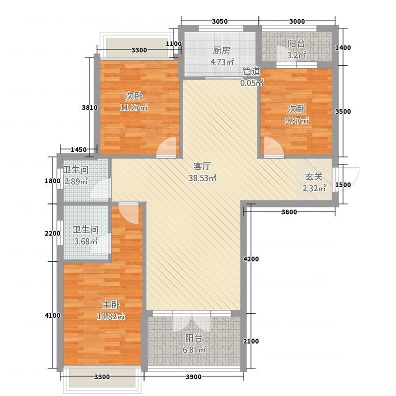 红盾时尚公寓128.47㎡C户型3室2厅2卫1厨