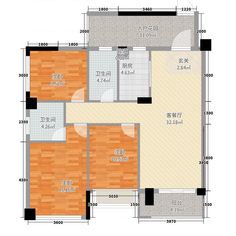 瑞中新城117.00㎡3#A_副本户型3室2厅2卫1厨