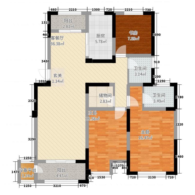 新乐花园514.20㎡5#标准层F户型3室2厅2卫1厨