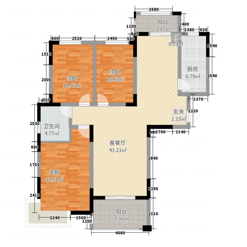 众发世纪城263115.22㎡26#、30#、32#高层1-F户型3室2厅1卫1厨