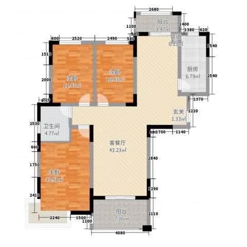 众发世纪城3室1厅1卫1厨263115.00㎡户型图