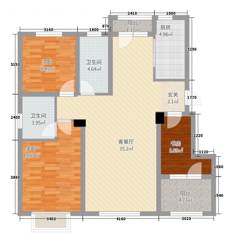 益田瓦萨小镇1.20㎡三期洋房A户型3室2厅2卫1厨