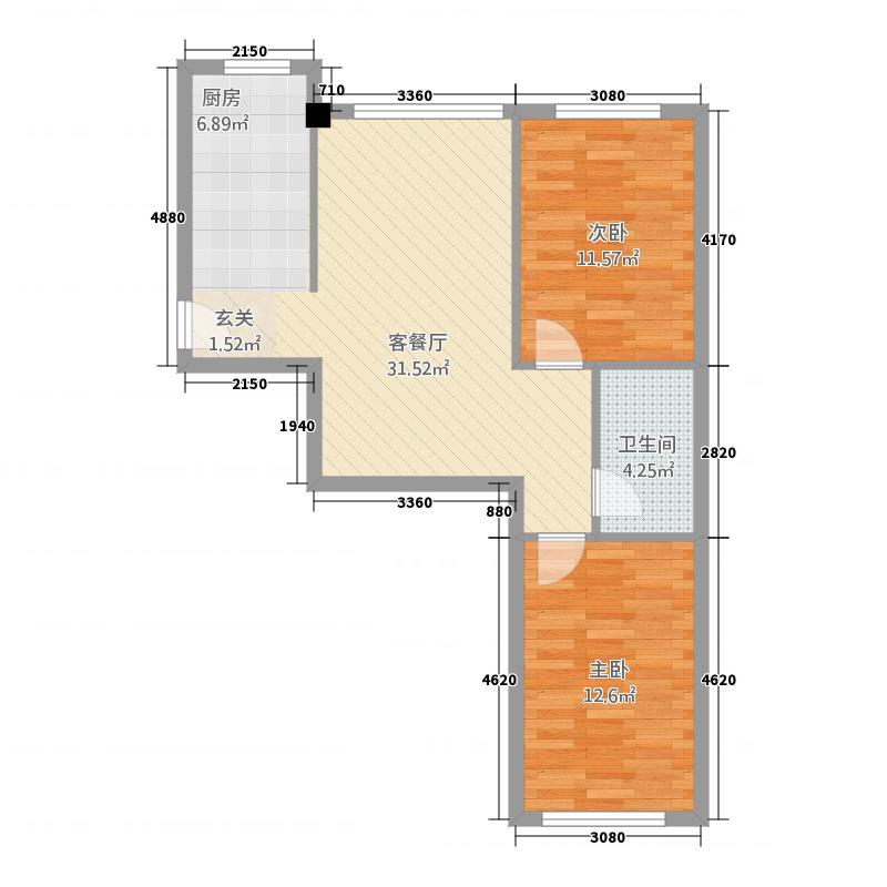 顺馨佳苑83.50㎡户型2室1厅1卫1厨