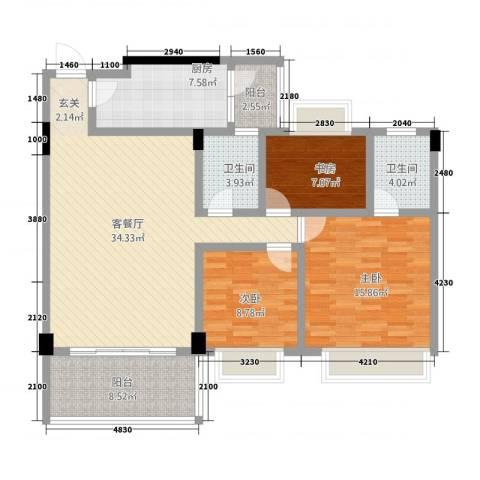 观湖雅轩3室1厅2卫1厨135.00㎡户型图