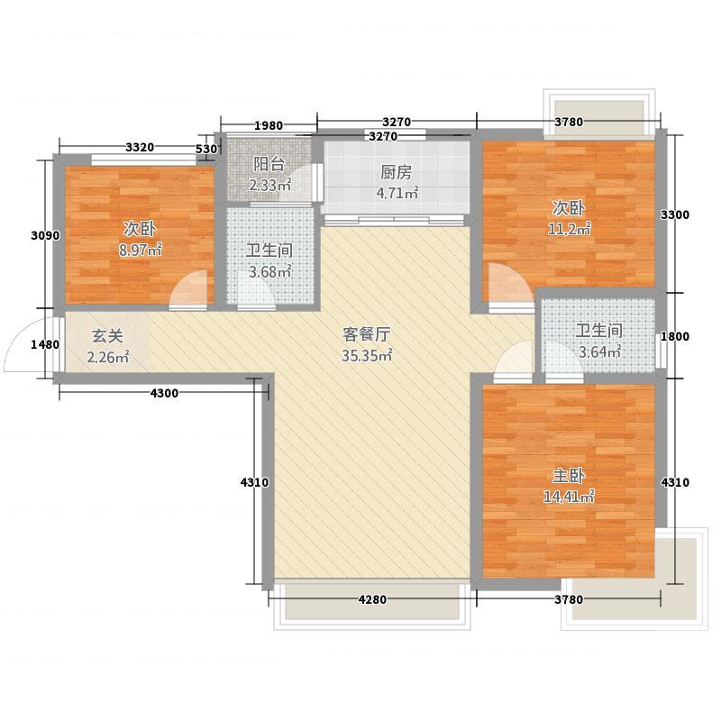 群邦银座新天地112.20㎡D1图库・户型3室2厅2卫1厨