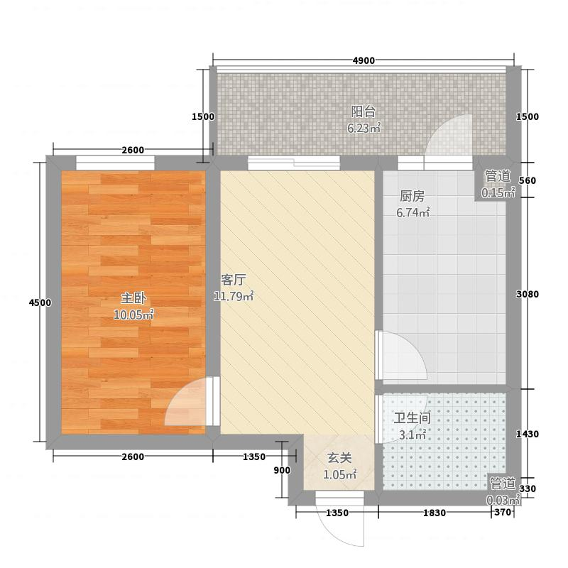 文化帝景1157.20㎡G户型1室1厅1卫1厨