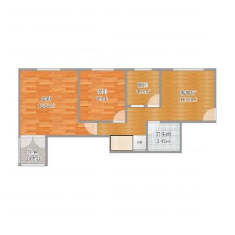 流水苑2室1厅1卫1厨70.00㎡户型图