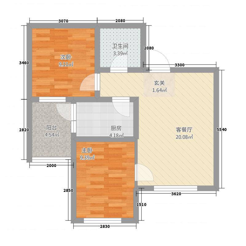 冠城蓝湖湾282.87㎡户型2室2厅1卫1厨