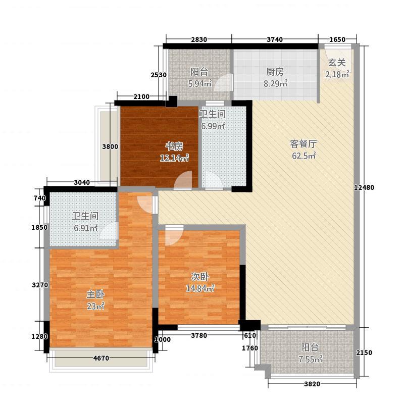 尚悦名都花园3216.20㎡B户型3室2厅2卫1厨