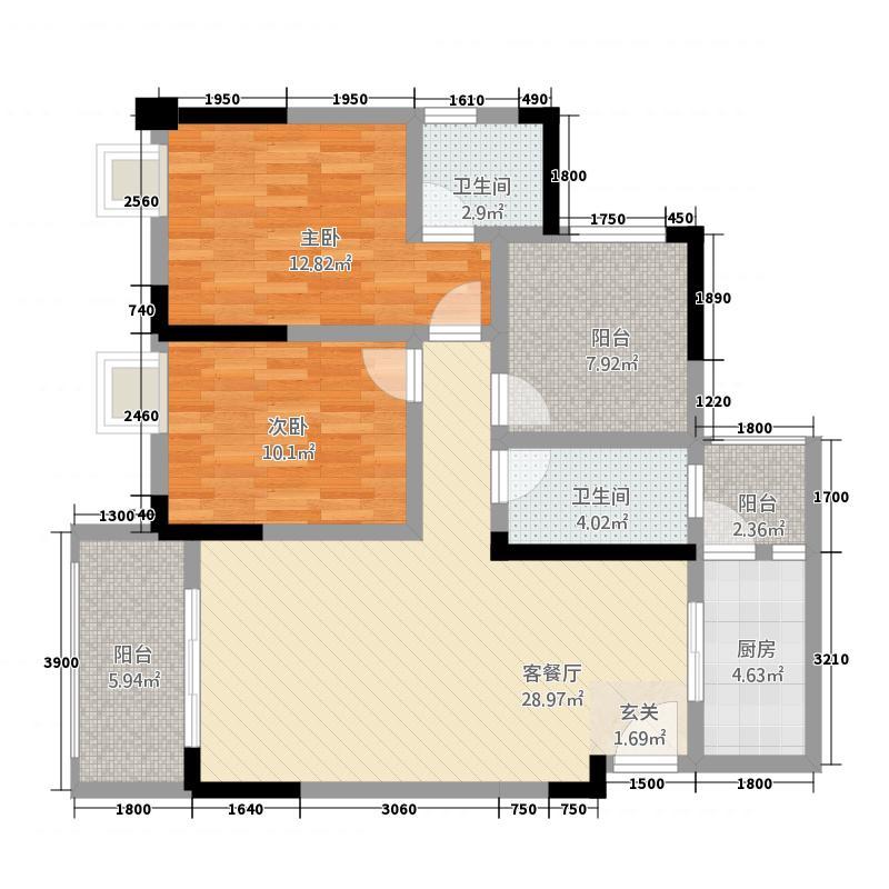 金九・南滨花园13.61㎡12号楼4号房户型2室2厅2卫1厨