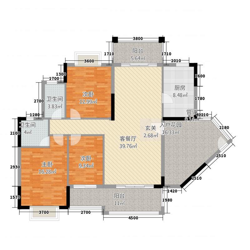 绵登新世界花园213.36㎡B2栋-05户型3室2厅2卫1厨