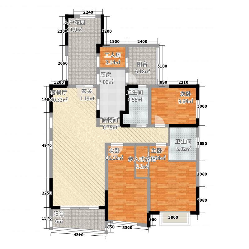 中环丰锦358153.19㎡3、5、8、9号楼标准层B2户型3室2厅2卫1厨