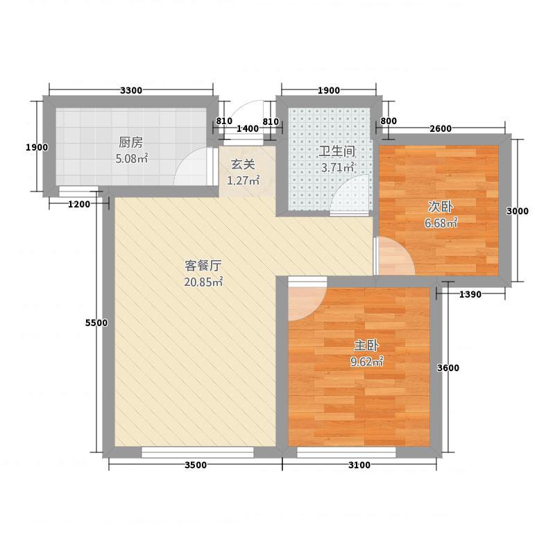 中城国际城271.61㎡A2户型2室2厅1卫1厨