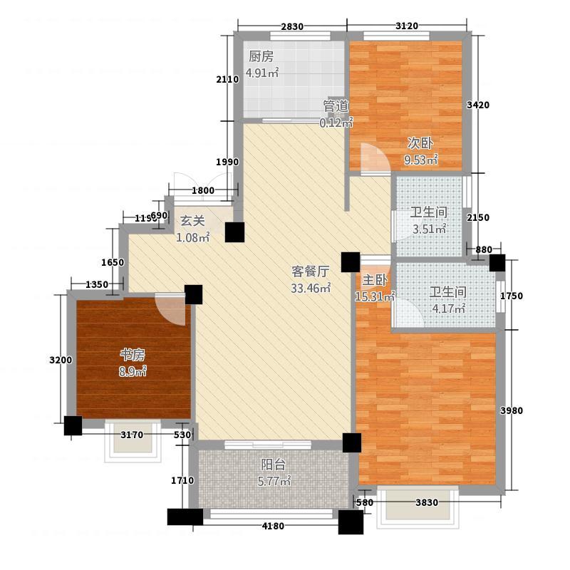银亿金域华府118.20㎡C户型3室2厅2卫1厨