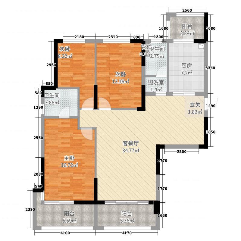 池州碧桂园13.20㎡浅月湾二期J166-A户型3室2厅2卫1厨