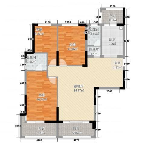 池州碧桂园3室2厅2卫1厨101.71㎡户型图