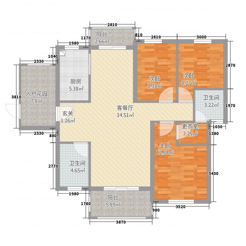 锦绣名城134.87㎡1幢602户型3室2厅2卫1厨