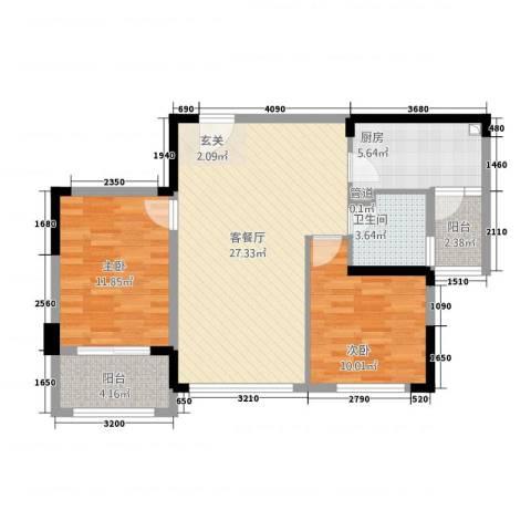池州碧桂园2室1厅1卫1厨84.00㎡户型图