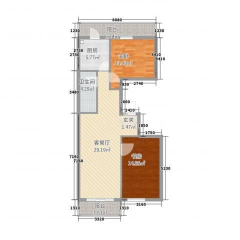 御景国际2室1厅1卫1厨85.00㎡户型图