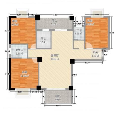 鸿源海景城3室1厅2卫1厨116.00㎡户型图