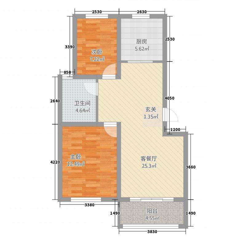 国信雍翠湾286.20㎡20#B户型2室2厅1卫1厨