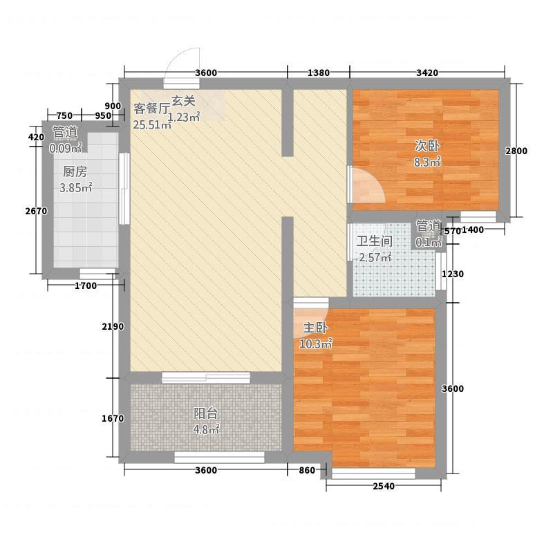 天业盛世国际88.20㎡B户型2室2厅1卫1厨