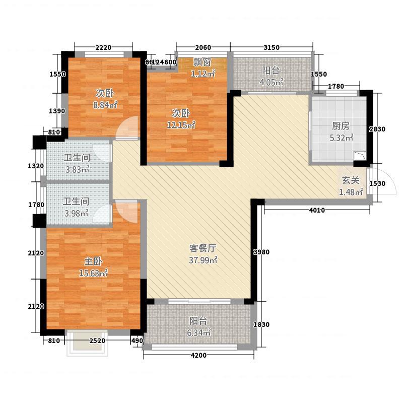 缤江汇13123.52㎡A-1A户型3室2厅2卫1厨