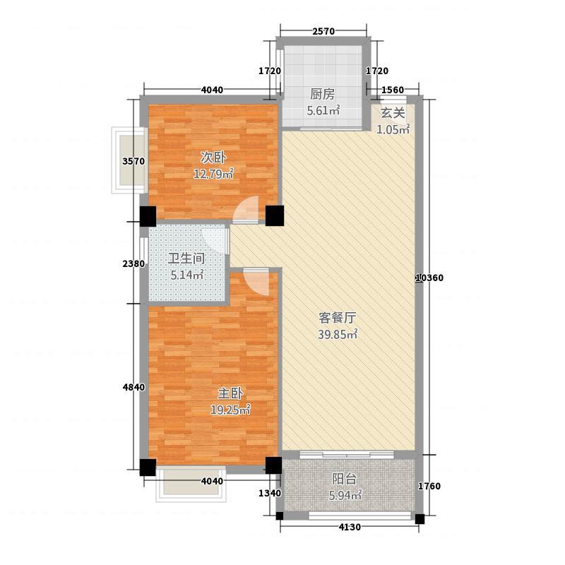 惠港新城123.20㎡1#2#楼_t3-Model1户型2室2厅1卫1厨