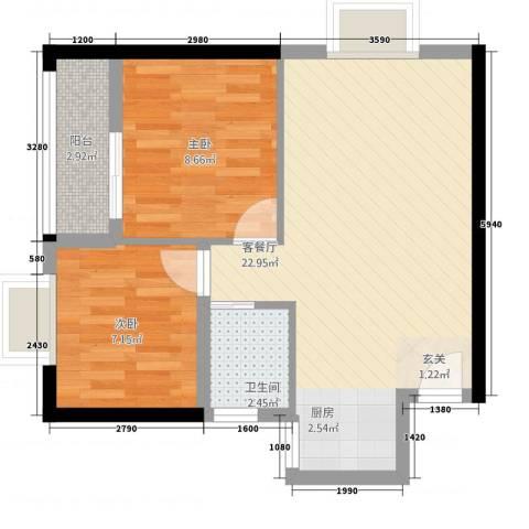 鸿源海景城2室1厅1卫0厨63.00㎡户型图