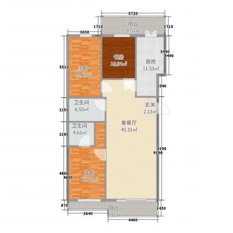 御景国际3室1厅2卫1厨140.00㎡户型图