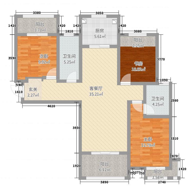 时代御湖湾3138.20㎡A-3户型3室2厅2卫