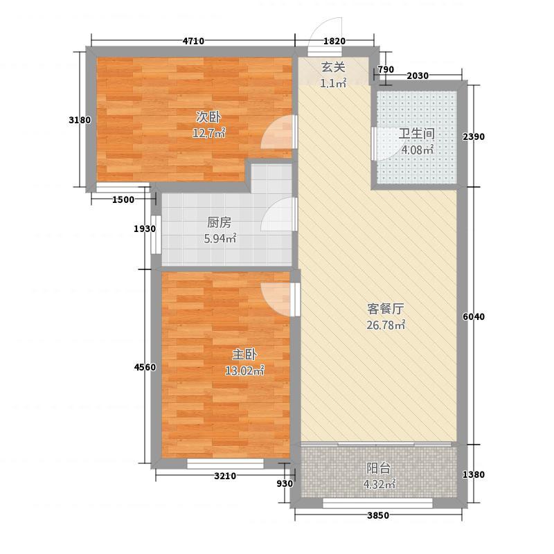 威隆太阳城23.28㎡B户型2室2厅1卫1厨